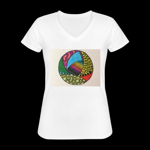 circle corlor - Klassisk dame T-shirt med V-udskæring