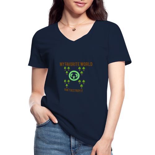 My world - Camiseta clásica con cuello de pico para mujer