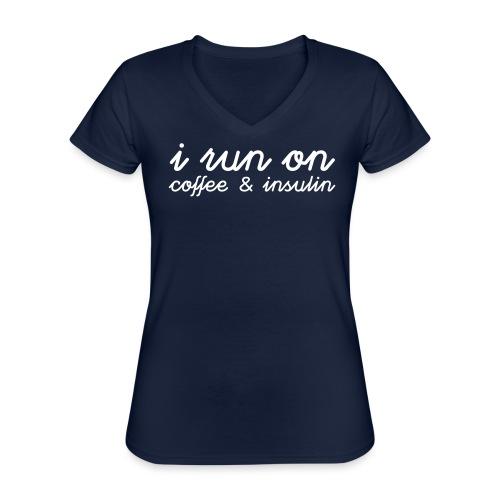 I run on coffee & insulin v4 ETU - Klassinen naisten t-paita v-pääntiellä