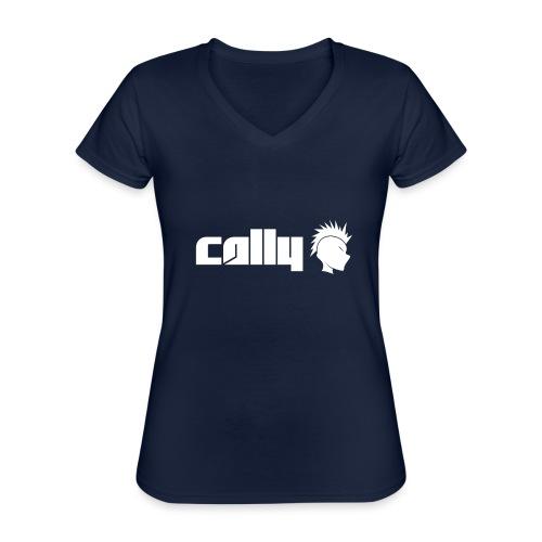 Cally White Logo - Classic Women's V-Neck T-Shirt