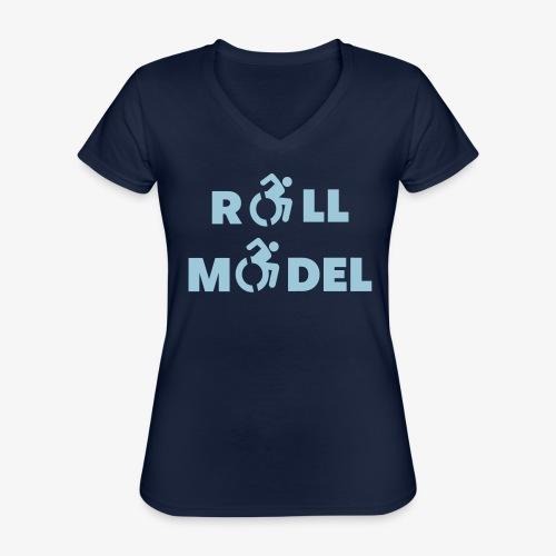Elke rolstoel gebruiker is een roll model - Klassiek vrouwen T-shirt met V-hals