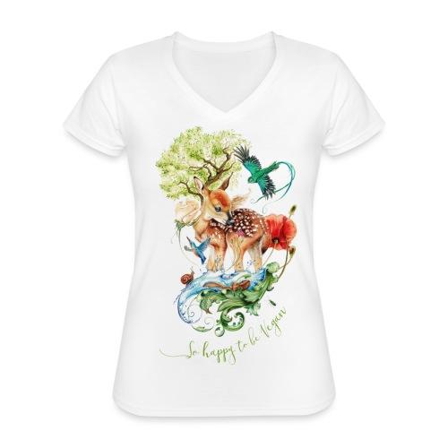 Schattig hertje door Maria Tiqwah - Klassiek vrouwen T-shirt met V-hals