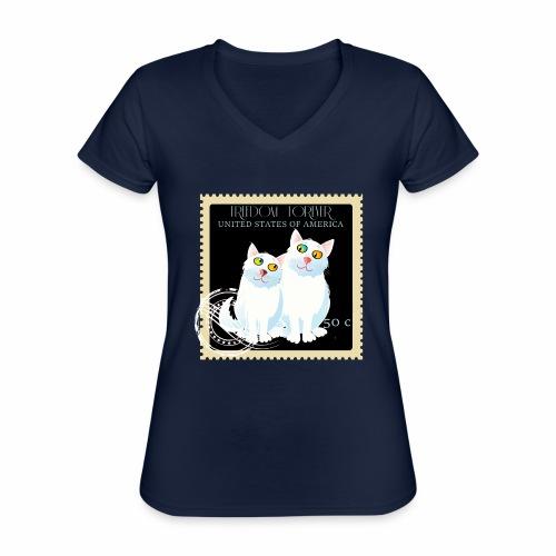 timbre usa - T-shirt classique col V Femme