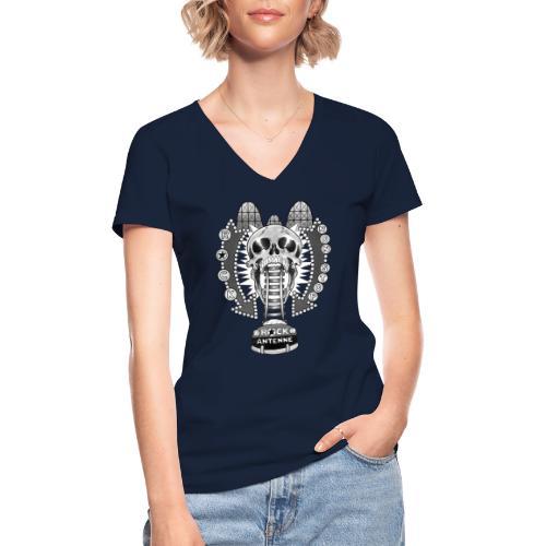ROCK ANTENNE Rock 'n' Rollercoaster / schwarz-weiß - Klassisches Frauen-T-Shirt mit V-Ausschnitt