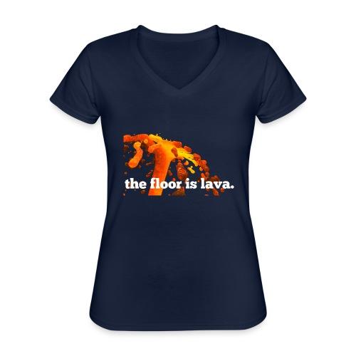 the floor is lava - Klassisches Frauen-T-Shirt mit V-Ausschnitt