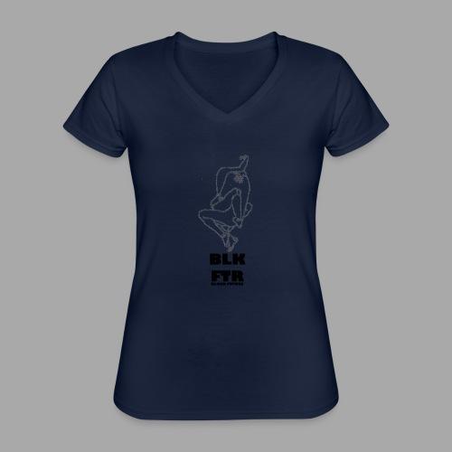 BLK FTR N°7 - Maglietta da donna classica con scollo a V