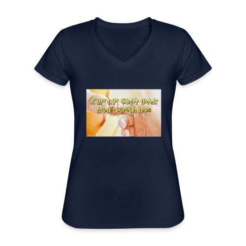 Tigrigna Bible verse - Klassisk T-shirt med V-ringning dam
