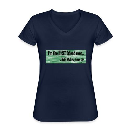 MOOD PHRASES - Camiseta clásica con cuello de pico para mujer