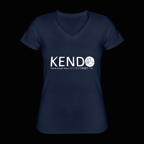 Finnish Kendo Team Text - Klassinen naisten t-paita v-pääntiellä