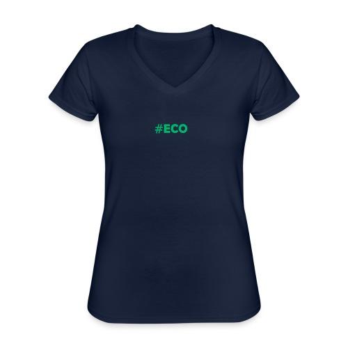 #ECO Blue-Green - Klassisches Frauen-T-Shirt mit V-Ausschnitt