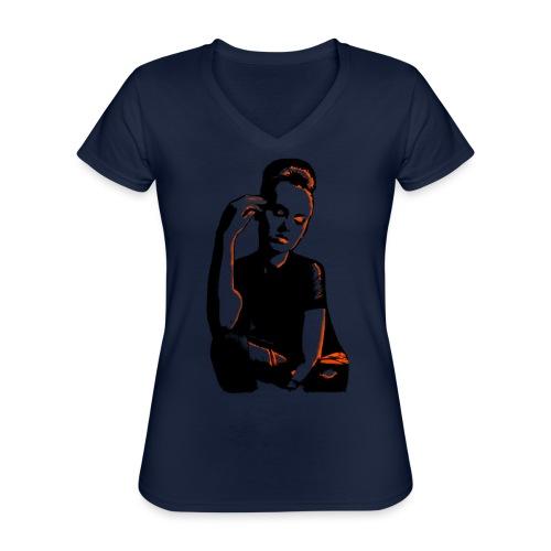 ATTITUDE (orange) - Klassisk dame T-shirt med V-udskæring