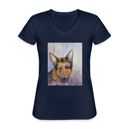 german shepherd wc - Klassisk dame T-shirt med V-udskæring