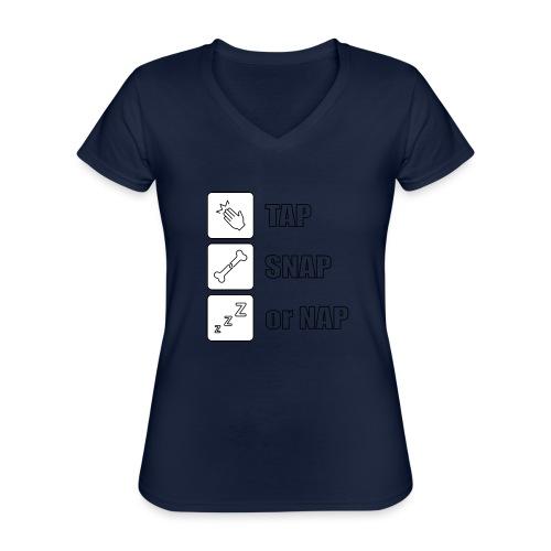tap snap or nap - Klasyczna koszulka damska z dekoltem w serek