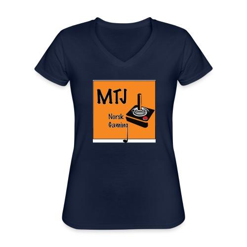 Mtj Logo - Klassisk T-skjorte med V-hals for kvinner