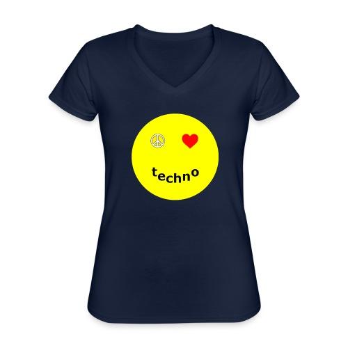 camiseta paz amor techno - Camiseta clásica con cuello de pico para mujer