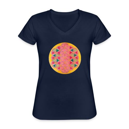 Blume des Lebens - Klassisches Frauen-T-Shirt mit V-Ausschnitt