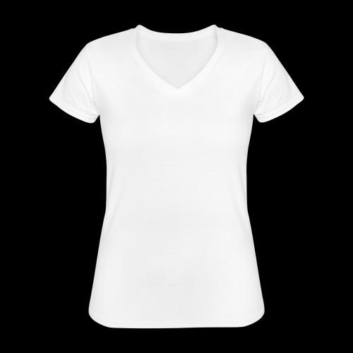 Pinque AEM Bianco - Maglietta da donna classica con scollo a V