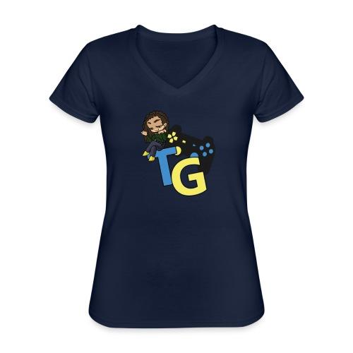 logo kanału z konorią - Klasyczna koszulka damska z dekoltem w serek