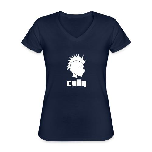 Cally Mohawk & Text Logo - Classic Women's V-Neck T-Shirt