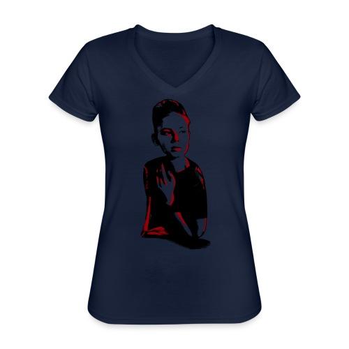 WOKE (red) - Klassisk dame T-shirt med V-udskæring