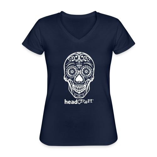 Skull & Logo white - Klassisches Frauen-T-Shirt mit V-Ausschnitt