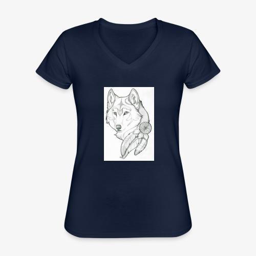 wolf - Klassiek vrouwen T-shirt met V-hals
