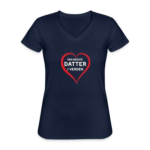 Bedste Datter i Verden - Klassisk dame T-shirt med V-udskæring