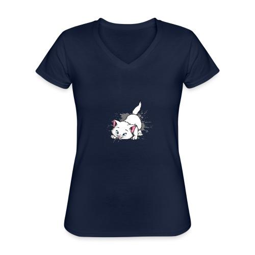 Katze Splash Pfützen Sprung - Klassisches Frauen-T-Shirt mit V-Ausschnitt