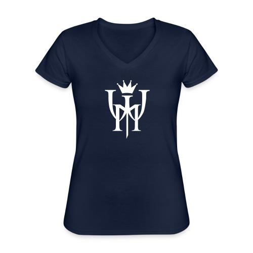 Logo MW białe - Klasyczna koszulka damska z dekoltem w serek