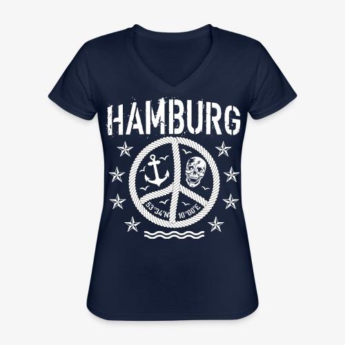 105 Hamburg Peace Anker Seil Koordinaten - Klassisches Frauen-T-Shirt mit V-Ausschnitt