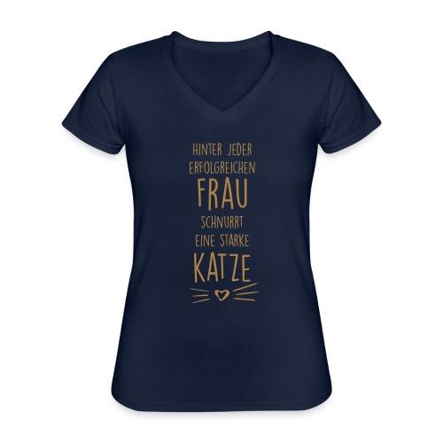 Vorschau: erfolgreiche frau - Klassisches Frauen-T-Shirt mit V-Ausschnitt