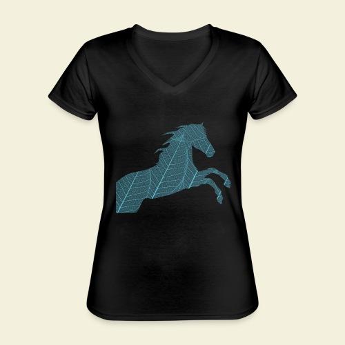 Cheval feuille - T-shirt classique col V Femme