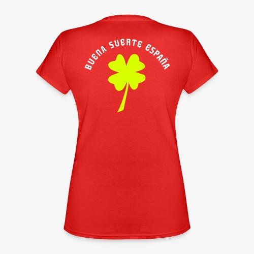 Trébol de la suerte / Escudo rojo / Espalda - Camiseta clásica con cuello de pico para mujer