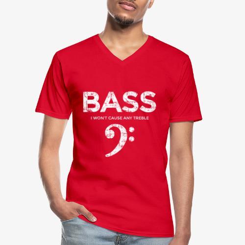 BASS I wont cause any treble (Vintage/Weiß) - Klassisches Männer-T-Shirt mit V-Ausschnitt