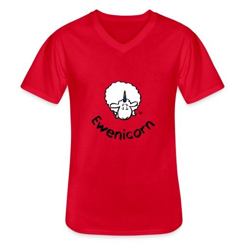 Ewenicorn - it's a rainbow unicorn sheep! (text) - Men's V-Neck T-Shirt
