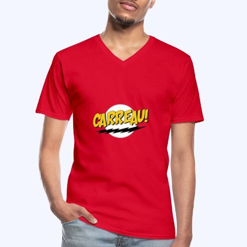 Carreau! - Klassiek mannen T-shirt met V-hals
