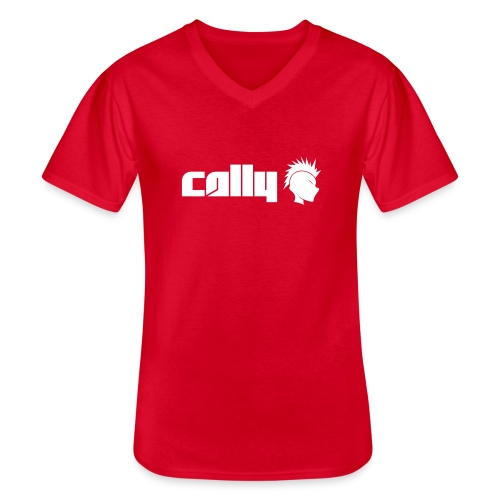 Cally White Logo - Men's V-Neck T-Shirt
