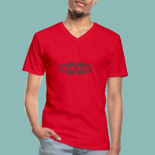 Caiania-logo harmaa - Klassinen miesten t-paita v-pääntiellä