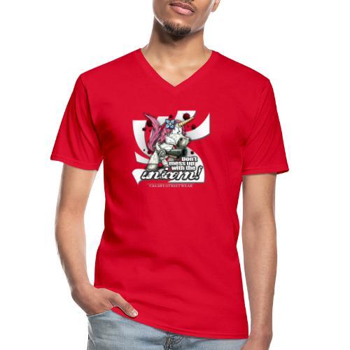 Don't mess up with the unicorn - Klassisches Männer-T-Shirt mit V-Ausschnitt
