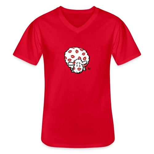 Kuss Mutterschaf - Klassisches Männer-T-Shirt mit V-Ausschnitt