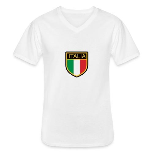 SCUDETTO ITALIA CALCIO - Maglietta da uomo classica con scollo a V