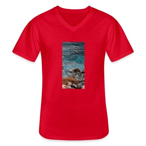 iPhone 4/4s Hard Case mit Wellenmotiv - Klassisches Männer-T-Shirt mit V-Ausschnitt