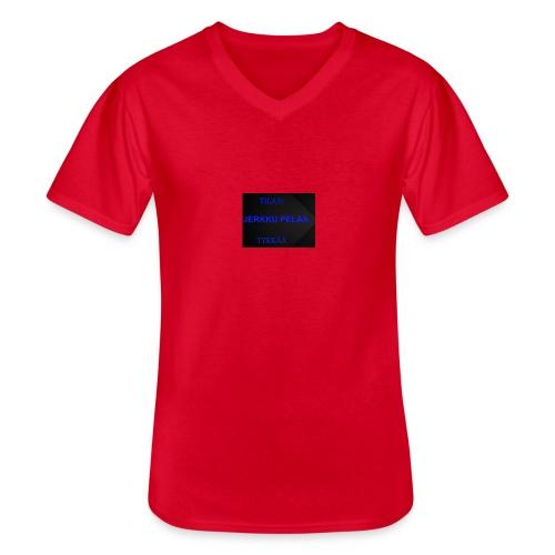 jerkku - Klassinen miesten t-paita v-pääntiellä