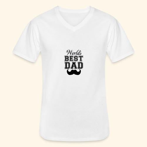 Worlds best dad - Klassisk herre T-shirt med V-udskæring