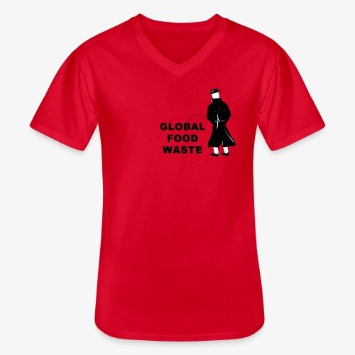 Pissing Man against Global Food Waste - Klassisches Männer-T-Shirt mit V-Ausschnitt