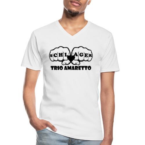 Black Print Trio Amaretto - Klassisches Männer-T-Shirt mit V-Ausschnitt