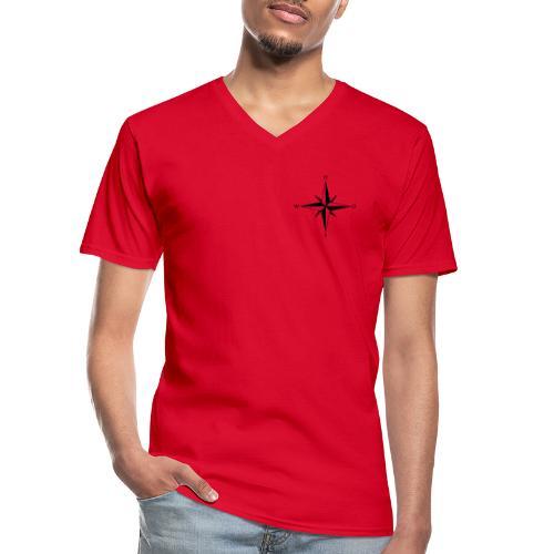 Kompas sort - Klassisk herre T-shirt med V-udskæring