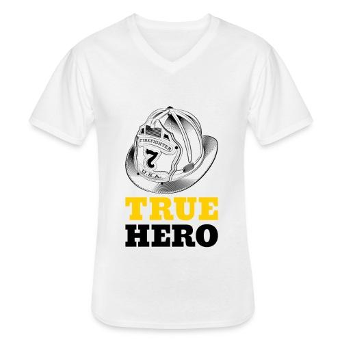 True Hero - Klassisches Männer-T-Shirt mit V-Ausschnitt