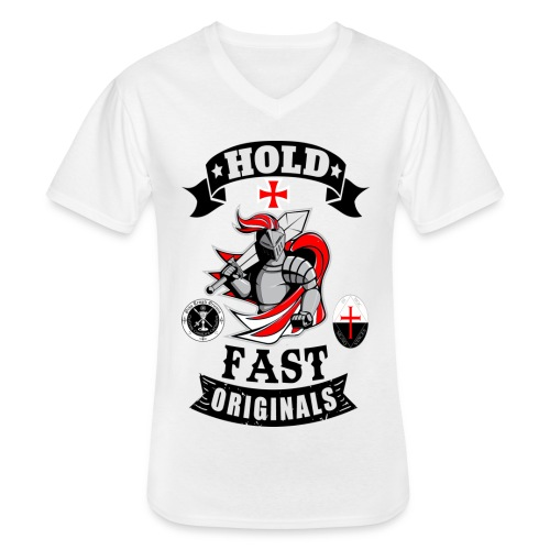 Kreuz Ritter Tempel Ritter - Klassisches Männer-T-Shirt mit V-Ausschnitt