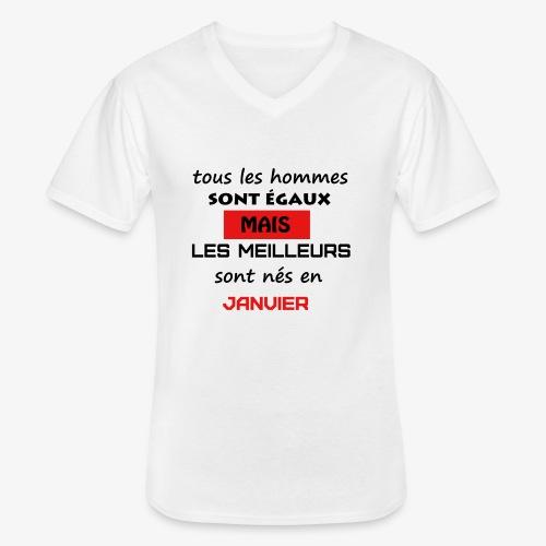 les meilleurs sont nés en janvier - T-shirt classique col V Homme